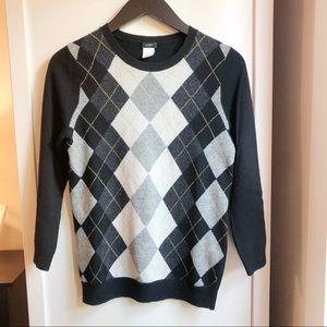 J.Crew Cashmere Argyle Sweater - S